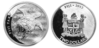 Silver Fiji Taku, New Zealand Mint - 1 oz. $2, Bullion coin
